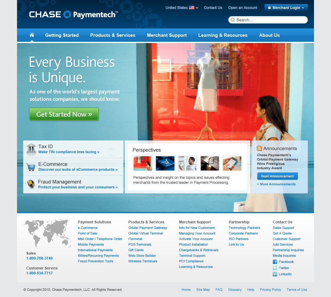 Chase Paymentech Homepage