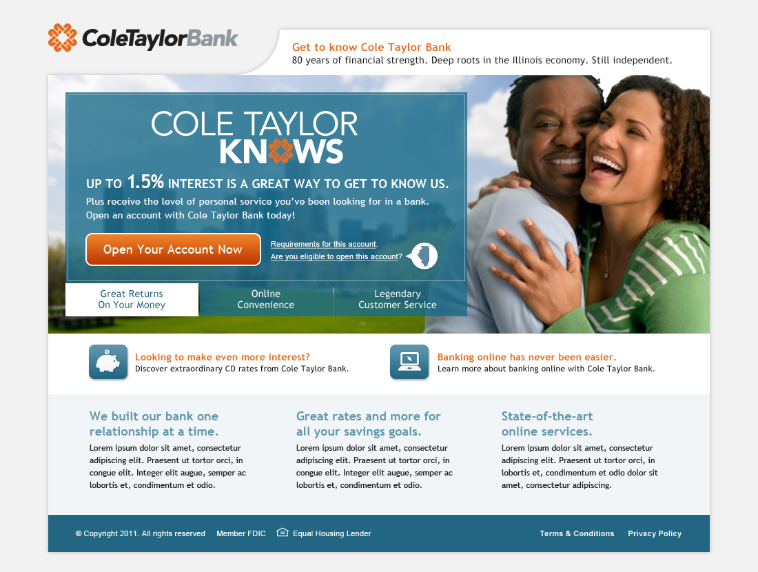Cole Taylor Bank Microsite